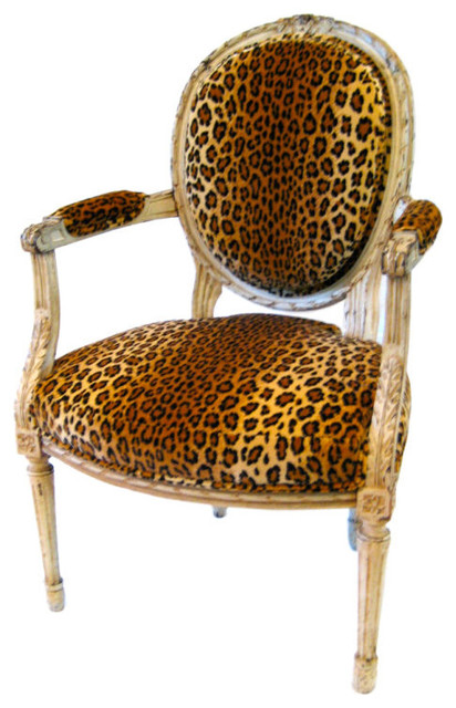 Louis xvl style fauteuil with leopard print velvet upholstery traditional armchairs and - Traditionele fauteuil ...