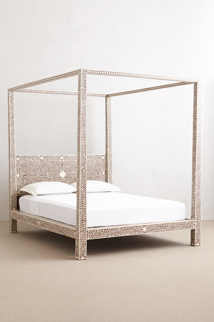 Bone Inlay Four Poster Bed Eclectic Canopy Beds