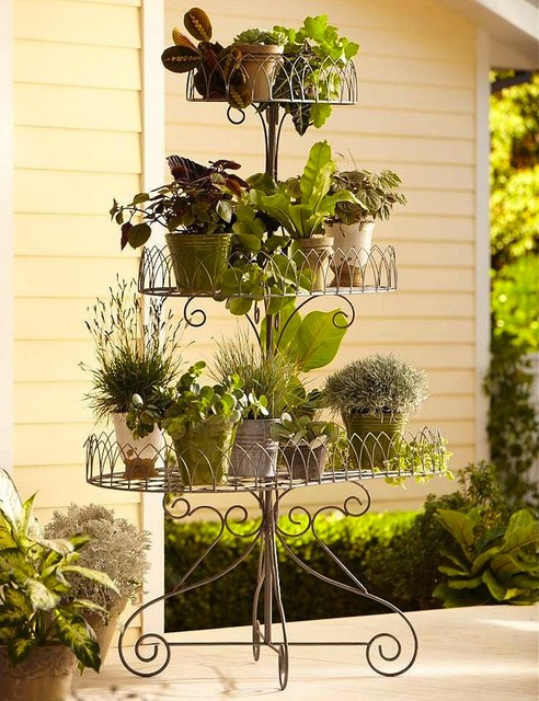 Iron Scroll 3-Tier Plant Stand eclectic outdoor planters