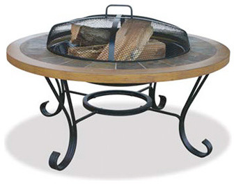 "Uniflame 34"" Wide Slate Tile and Faux Wood Outdoor Firebowl modern-fire-pits"