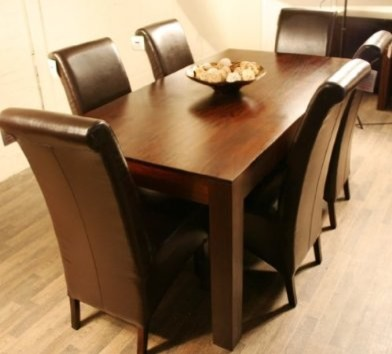 Dakota 160cm Dining Table with 6 Chairs Modern Dining