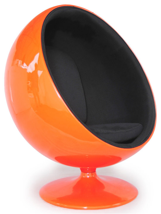"""Kardiel Ball-Style Chair, Orange Fiberglass/Black Microfiber - Finnish furniture designer Eero Aarnio created the original Ball Chair in 1963. Considered a classic of industrial design it is also referred to as The Globe Chair. Many color combos are now available, however the original Ball Chair was created with one color option, a white outer shell and red cloth interior. The original Ball Chair features a 5 panel interior liner. The original shell was made of fiberglass with a consistent glossy finish. Sitting on a wide circular base, the Ball Chair turns a full 360 degrees on its axis. You don't have to settle for an inferior reproduction and you don't pay more. With Kardiel's signature reproduction, you can have your own version of the Eero Aarnio Ball Chair. Compare this reproduction anywhere for its highest standard of exacting detail. The accuracy of this Ball Chair reproduction is second to none. Kardiel's Mid Century Classic Ball Chair Style Premium Reproduction Features: Classic 5 panel interior. Dimension True Fiberglass shell. CA-117 fire retardant cushions. 360 degree high quality stainless steel ball bearing swivel mechanism ensures longevity and a smooth rotation. Removable back and seat cushions. Height: 47.2"""" at the highest point * Depth: 35.4"""" * Width: 40.2"""" at the widest point. Fade resistant durable """"Finland Thick"""" Micro-fiber upholstery. Comes with floor protector felt on underside of base. Seat and back cushions feature interior liner. Approved for commercial use."""