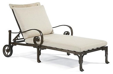 Maison jardin outdoor chaise lounge chair with cushions for Chaise longue jardin metal