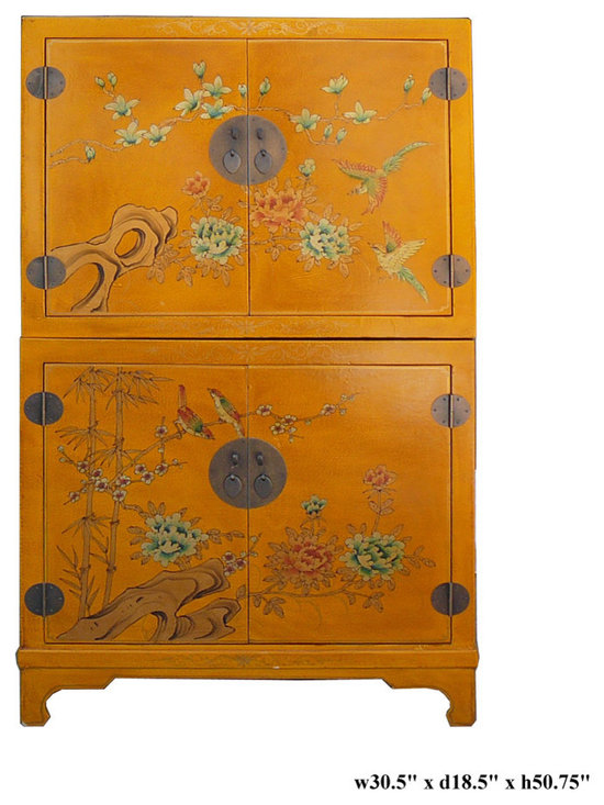 Chinese Yellow Leather Veneer Stack Cabinet - This two layers stack cabient is made of compressed wood with a layer of leather like veneer on the surface. Yellow is the base color and is printed with oriental flower pattern. It can be used separately or together.