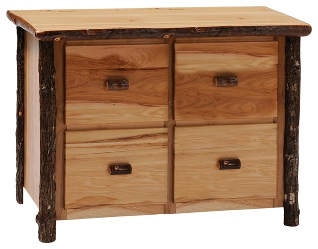 Hickory 4 Drawer File Cabinet (Rustic Alder) - Traditional - Filing Cabinets - by ivgStores