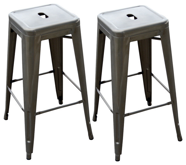 Loft Gun Metal Silver Metal Bar Stool 2 Piece  : contemporary bar stools and counter stools from www.houzz.com size 594 x 526 jpeg 55kB