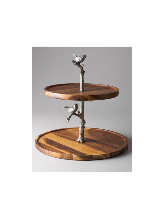 "Vagabond House - Vagabond House ""Song Bird"" Cheese Stand - Cheese, savory tidbits, appetizers, desserts, and more turn into charming presentations when offer on this delightful two-tiered cheese stand featuring a center support column carefully detailed to resemble a tree complete with tiny pewter song birds pe..."