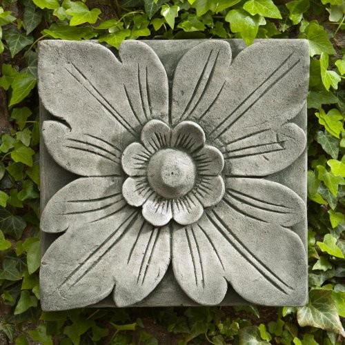 Campania International Square Flower Cast Stone Outdoor Wall Art