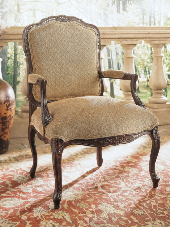 Henredon Greta Chair - Henredon Greta Chair in Meranello Finish (Stratford Finish shown).  A stately chair featuring upholstered back and gracefully curved cabriole legs.  This handsome piece will impress with its delicate flourishes from the soft, durable fabric to the elegantly detailed wood carvings.  A promise of luxurious comfort unmatched.