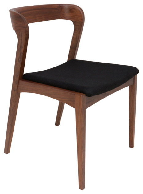 Bjorn Dining Chairs Tan Walnut With Black Fabric Seat