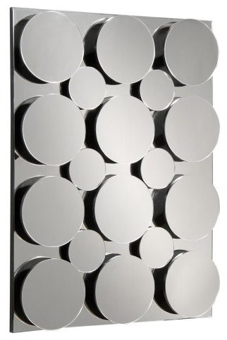 Mirrored Circled Decorative Mirror Wall Art - 30W x 40H in. eclectic-mirrors