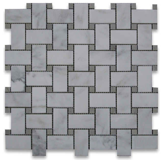 Calacatta Gold Marble Basketweave Mosaic Tile Gray Dots 1x2 Honed traditional-wall-and-floor-tile