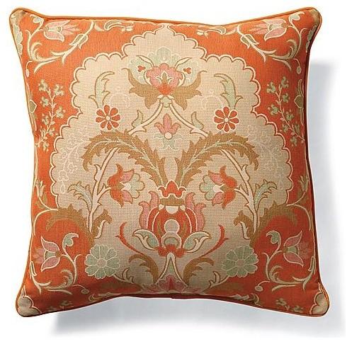 Outdoor Primrose Papaya Square Pillow traditional-outdoor-pillows