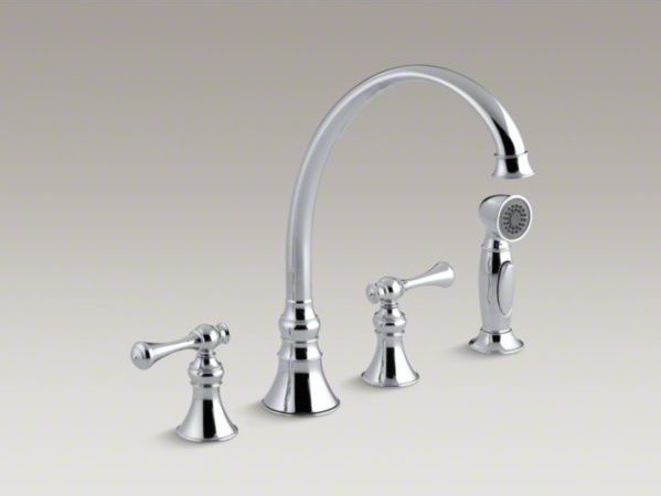 KOHLER Revival R 4 hole kitchen sink faucet with 9 3 16