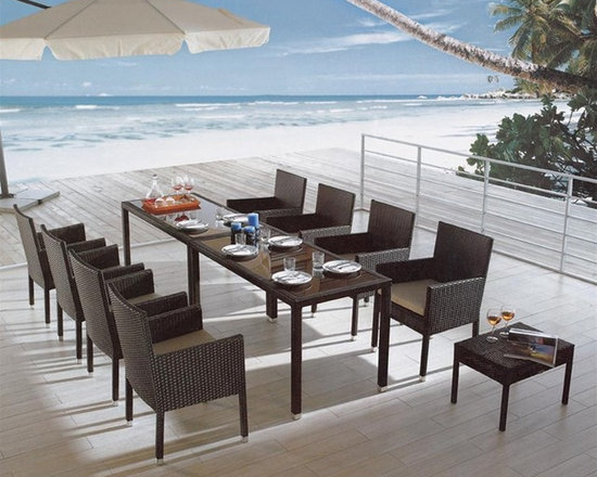 Paige 10-Pieced Patio Dining Set - This stunning dining set includes all 8 chairs, and two tables, bringing not only style but versatility to your home!