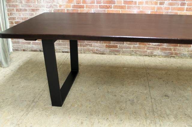 Modern Rustic Reclaimed Dining Table With Metal Base