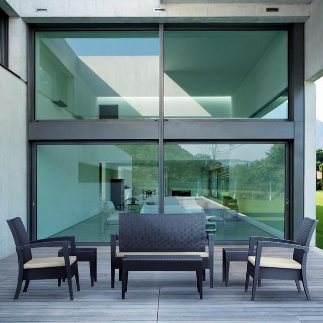 Miami Resin Wickerlook Conversation Set 6 piece Brown modern-outdoor-sofas