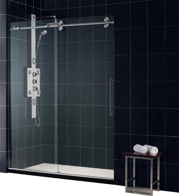 "Enigma Fully Frameless Sliding Shower Door, Clear 1/2"" Glass Door modern-showerheads-and-body-sprays"