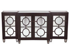 Three Piece Chocolate Mirrored Buffet contemporary buffets and sideboards