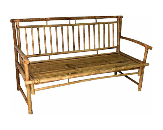 """Master Garden Products - Standard Slat Back Bamboo Bench, 54""""L x 21""""W x 36""""H - We use natural iron bamboo, also known as Tam Vong bamboo, which are straight and relatively thick walled to make these incredibly strong benches. Our benches are designed to be shipped knock down to save you money on shipping. Finished with natural bamboo oil for extra protection. Back bench support is 54""""L x 21""""W x 36""""H."""