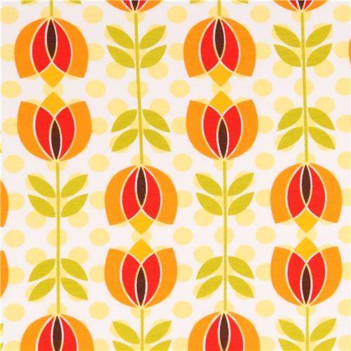 orange-red tulip Michael Miller interlock fabric fabric