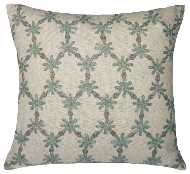 Powder Blue Decorative Pillows : Ditsy Flower Linen Pillow, Powder Blue - Traditional - Decorative Pillows - by Kevin O Brien Studio