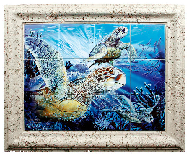Sea turtle find coral framed ceramic tile mural for Artwork on tile ceramic mural