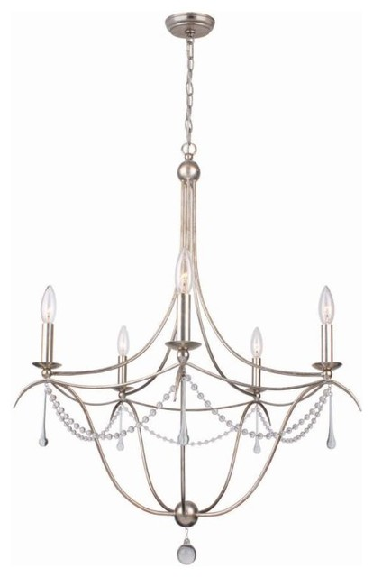 """5 Light 28"""" Antique Silver Chandelier with Clear Glass Beads and Murano Crystal transitional-chandeliers"""
