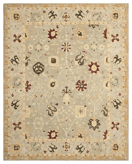"Traditional Anatolia Hallway Runner 2'3""x8' Runner Gray Blue-Mint Area Rug traditional-rugs"