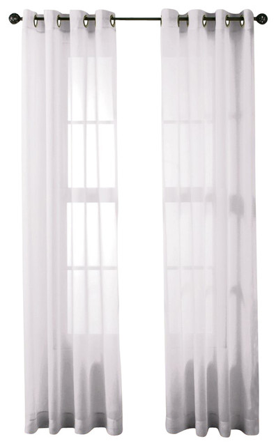 Of sheer window curtain grommet panels white traditional curtains