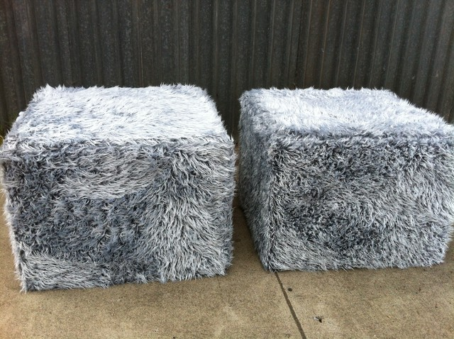 Faux Fur Ottomans Modern Footstools And Ottomans