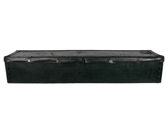 Running Board Storage Box - Antique wood storage box, once strapped to the running board of a Model T Ford.One inside lidded compartment with galvanized lining, probably used to transport ice or keep items cold. Lid snaps shut and has a clasp for locking.