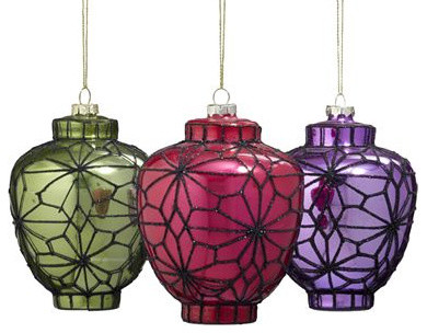 Chinese Glass Lantern Ornament Set asian-christmas-ornaments