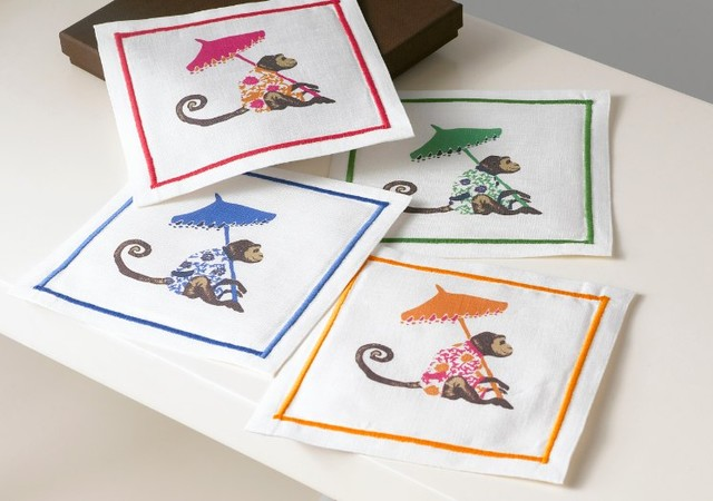 Printed Cocktail Napkins - Monkeys with Umbrella contemporary table linens