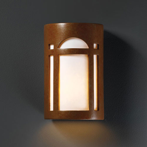 Ambiance Rust Patina Large Arch Window Outdoor Wall Sconce - Modern - Outdoor Lighting - by Bellacor