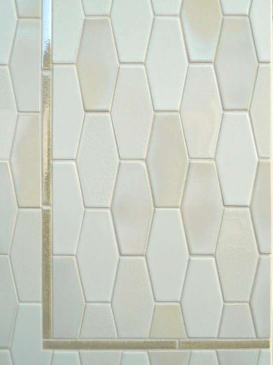 New Releases - Small elongated hex seen here in a variety of glaze types: C200, P1, W1 with a metallic glaze liner in C604
