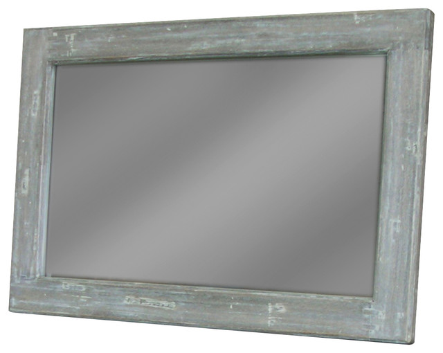 Handmade Wooden Frame Mirror Grey Traditional Mirrors