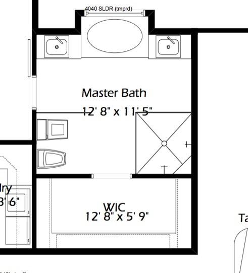 Master bath layout single vs double vanity for Master bath floor plans no tub