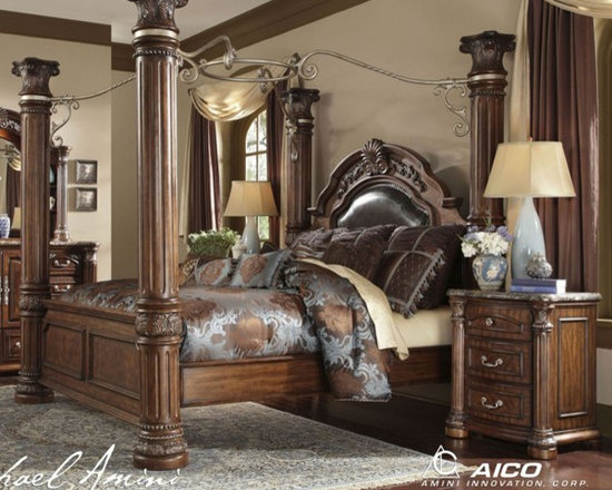 AICO Furniture - Monte Carlo II 7 Piece California King Poster Bedroom Set in Ca - Set includes California King Bed, Nightstand, Dresser and Mirror
