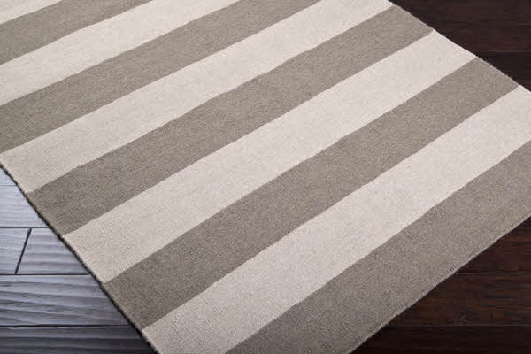Gray and Ivory Striped Rug beach-style-rugs