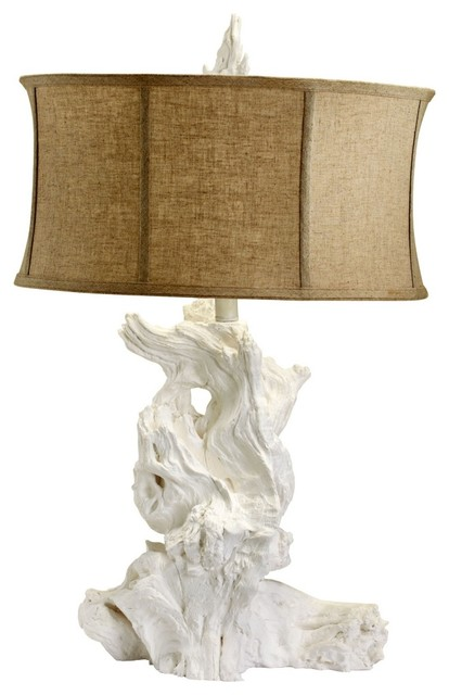 Coastal White Driftwood Table Lamp contemporary-table-lamps