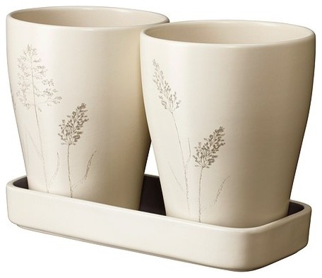 NÖJD 2 plant pots with 1 tray modern-indoor-pots-and-planters