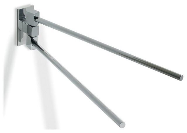 """Glue L 312 Double Arm Swivel Towel Rail without Screws in Chrome 13.8"""" contemporary-towel-bars"""