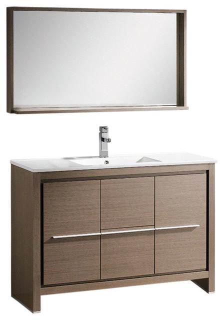 Fresca Allier Bathroom Vanity With Mirror Gray Oak 48 Contemporary