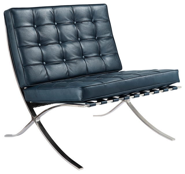M331 Barcelona Lounge Chair in Navy Blue Italian Leather Contemporary Arm
