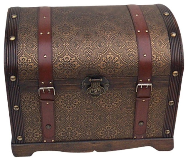 Victorian Round Top Steamer Trunk Traditional Dressers