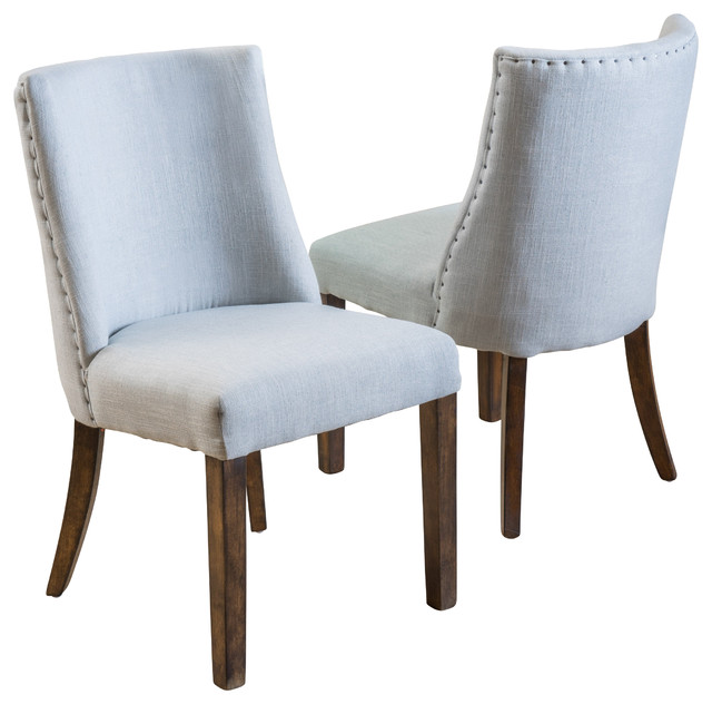 fabric dining chairs set of 2 blue grey transitional dining chairs