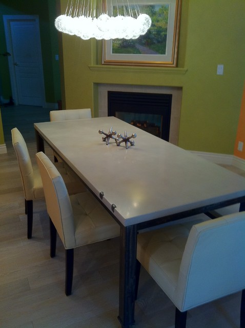 Custom 2Stone Concrete Dining Table and Bench on Metal Frame dining-tables