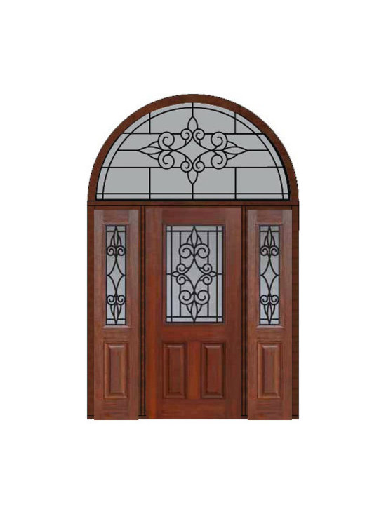 "Prehung Side lights-Transom Door 80 Fiberglass Salento 1/2 Lite - SKU#    MCT012WSA_DFHSAG1-2HRSAGBrand    GlassCraftDoor Type    ExteriorManufacturer Collection    1/2 Lite Entry DoorsDoor Model    SalentoDoor Material    FiberglassWoodgrain    Veneer    Price    4910Door Size Options    32"" + 2( 14"")[5'-0""]  $036"" + 2( 14"")[5'-4""]  $036"" + 2( 12"")[5'-0""]  $0Core Type    Door Style    Door Lite Style    1/2 LiteDoor Panel Style    2 PanelHome Style Matching    Door Construction    Prehanging Options    PrehungPrehung Configuration    Door with Two Sidelites and  Half Round TransomDoor Thickness (Inches)    1.75Glass Thickness (Inches)    Glass Type    Double GlazedGlass Caming    Glass Features    Tempered glassGlass Style    Glass Texture    Glass Obscurity    Door Features    Door Approvals    Energy Star , TCEQ , Wind-load Rated , AMD , NFRC-IG , IRC , NFRC-Safety GlassDoor Finishes    Door Accessories    Weight (lbs)    792Crating Size    36"" (w)x 108"" (l)x 89"" (h)Lead Time    Slab Doors: 7 Business DaysPrehung:14 Business DaysPrefinished, PreHung:21 Business DaysWarranty    Five (5) years limited warranty for the Fiberglass FinishThree (3) years limited warranty for MasterGrain Door Panel"