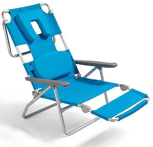 Facedown Beach and Blue Lounge Chair Eclectic Outdoor Chaise Lounges by